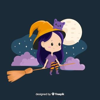 Nette halloween-hexe, die auf einem besen sitzt