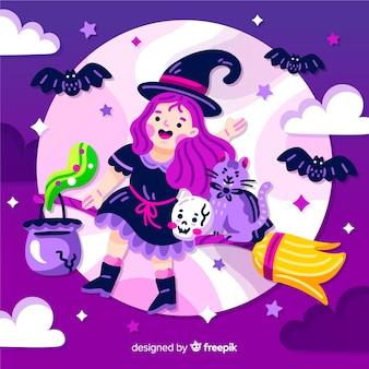 Nette halloween-hexe, die zum mond fliegt