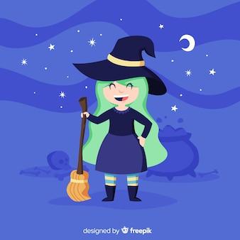 Nette halloween-hexe mit einem besen