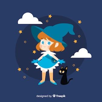 Nette halloween-hexe mit schwarzer katze