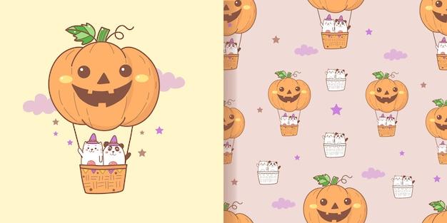Nette halloween-karikatur nahtlose musterkatze und -panda auf dem kürbisballon.