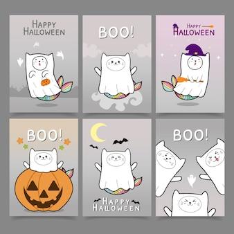 Nette halloween-kartensammlung der katzenmeerjungfrau