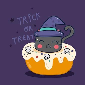 Nette halloween-katze mit kürbiskarikatur des kleinen kuchens