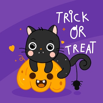 Nette halloween-katze und -spinne auf kürbiskarikatur