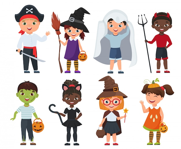 Nette halloween-kinder eingestellt. cartoon-vektor-illustration