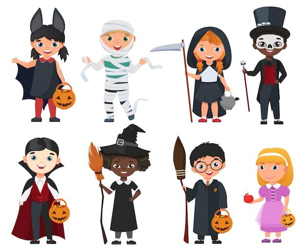 Nette halloween-kinder eingestellt