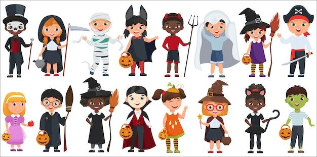 Nette halloween kleine kinder eingestellt