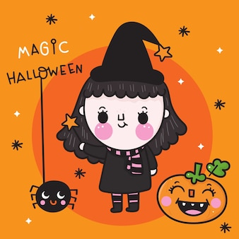 Nette halloween-mädchenhexe mit kürbis und spinne kawaii karikatur