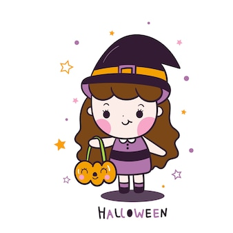 Nette halloween-mädchenkarikatur, die kürbiseimerkarikatur hält