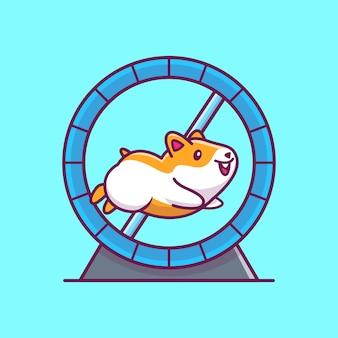 Nette hamster-laufsymbol-illustration. hamster maskottchen zeichentrickfigur. tierikon-konzept isoliert
