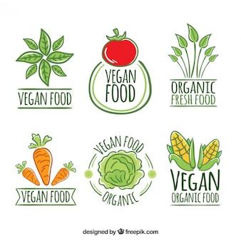 Nette hand gezeichnet veganes restaurant logos