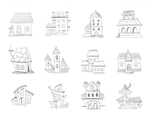 Nette hand gezeichnete häuser mit fenstern