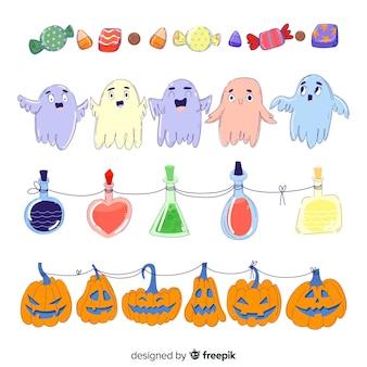 Nette hand gezeichnete halloween-grenzsammlung