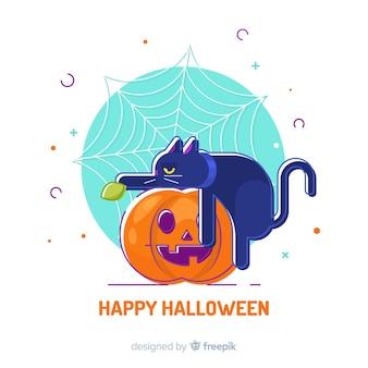 Nette hand gezeichnete halloween-katze, die auf einem kürbis sitzt