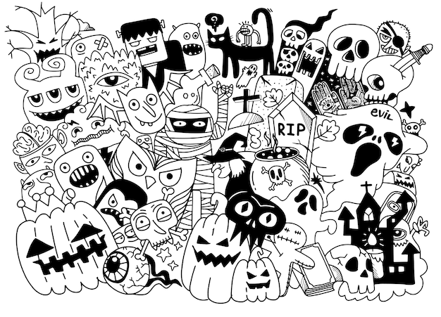 Nette hand gezeichnete halloween kritzeleien, illustration