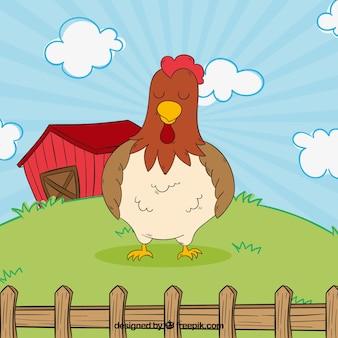 Nette hand gezeichnete hühner in der farm