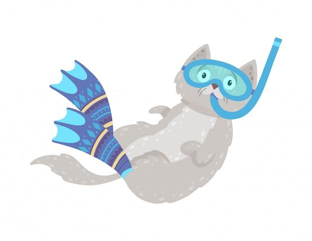 Nette hand gezeichnete illustration mit einer schwimmenkatze. katzentauchen in flossen und maske.