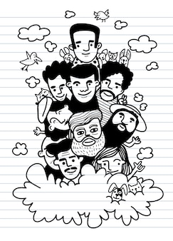 Nette hand gezeichnete kritzeleien, gesicht leute skizzieren menge der lustigen völkerillustration