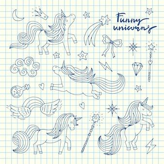 Nette hand gezeichnete magische einhörner und sterne stellten auf blaue zellblattillustration ein
