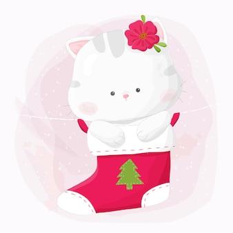 Nette hand gezeichnete miezekatzekatze, die im weihnachtsstrumpf hängt.
