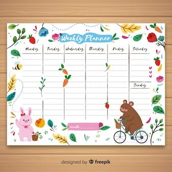 Nette hand gezeichnete wöchentliche zeitplanschablone