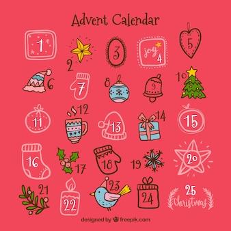 Nette hand gezeichneter adventskalender auf einem rosa hintergrund