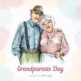 Nette hand gezeichneter großeltern-tageshintergrund