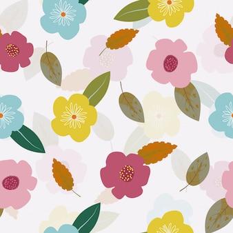Nette hand gezeichneter nahtloser hintergrund des weinleseblumenmusters