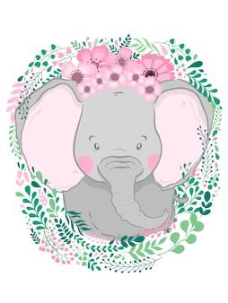 Nette hand gezeichneter tierelefant