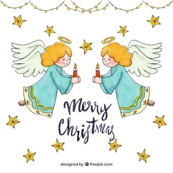 Nette hand gezeichneter weihnachtsengelshintergrund