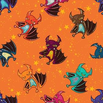 Nette hand gezeichnetes stammes- schlägermuster für glückliches halloween