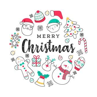Nette handgezeichnete elemente der frohen weihnachten