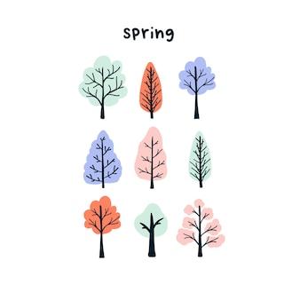 Nette handgezeichnete kleine frühlingsbäume. gemütliche hygge-vorlage im skandinavischen stil für postkarte, poster, grußkarte, kinder-t-shirt-design. vektorillustration im flachen cartoon-stil