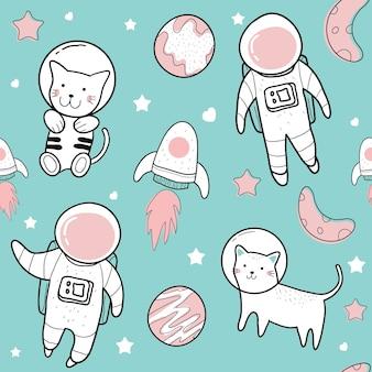 Nette handzeichnungen von netten illustrationen des nahtlosen musters des astronauten