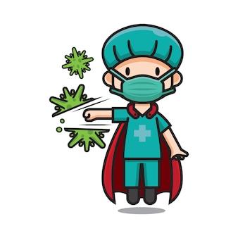 Nette helden-krankenschwester, die corona-virus-zeichentrickfigur trifft