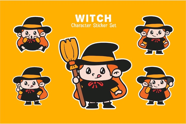 Nette hexe halloween charakter illustration aufkleber set