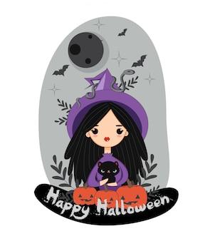 Nette hexe mit schwarzer katze und schlange für halloween