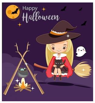 Nette hexe und schwarze katze auf halloween-grußkarte