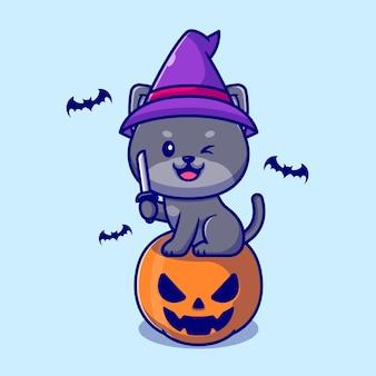 Nette hexenkatze, die auf kürbis-halloween-haltemesser-cartoon-illustration sitzt.