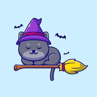 Nette hexenkatze, die auf magischer besen-karikaturillustration schläft.