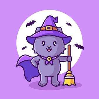 Nette hexenkatze, die besen hält und hut-halloween-logo-vektor-icon-illustration im flachen stil trägt