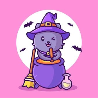 Nette hexenkatze, die trank illustration halloween logo vektor icon illustration im flachen stil macht