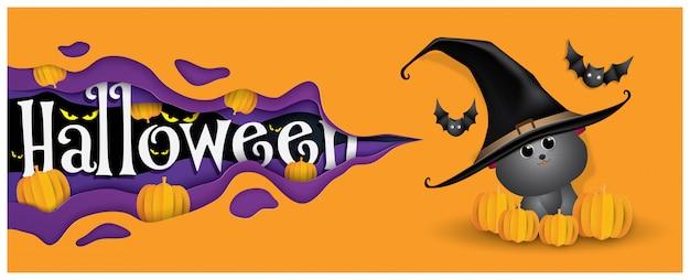 Nette hexenkatze und schläger, glücklicher halloween-hintergrund.