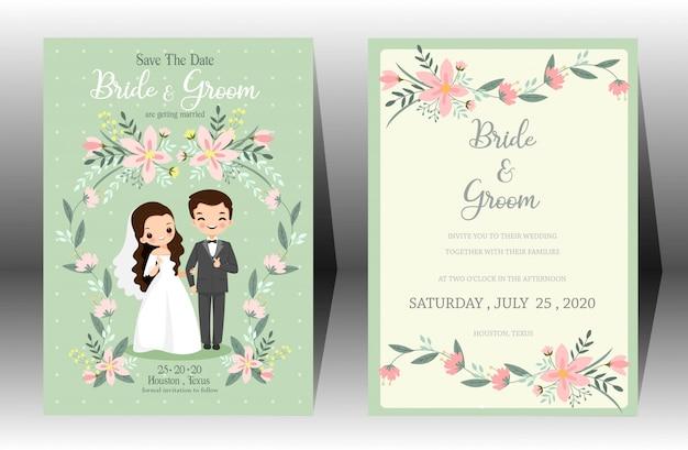 Nette hochzeitskarikaturbraut- und bräutigampaareinladungskarte auf grünem hintergrund
