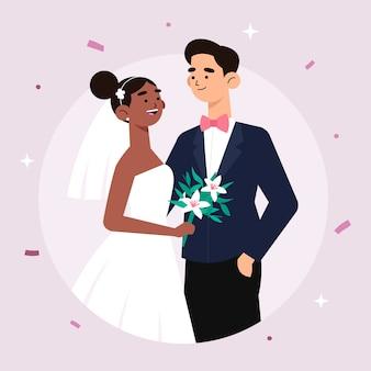 Nette hochzeitspaare, die heiraten