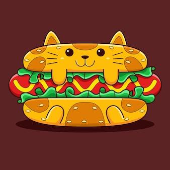 Nette hot dog-katzenillustration mit flachem karikaturstil.