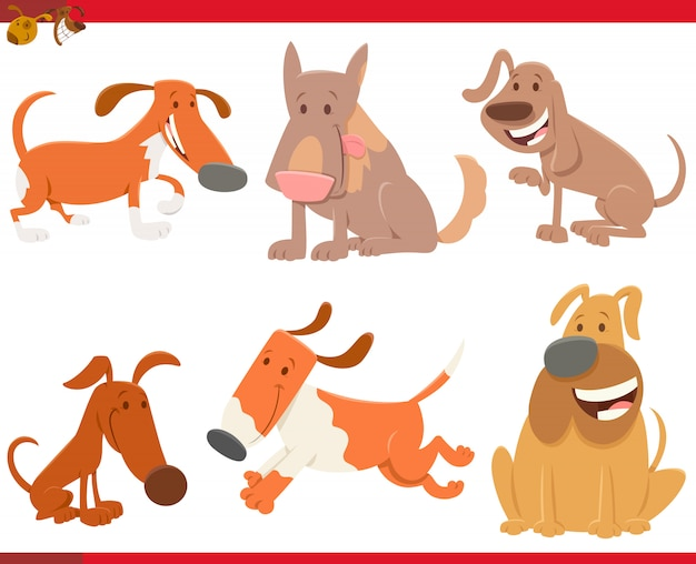 Nette hunde oder welpen haustier-tiercharaktere eingestellt