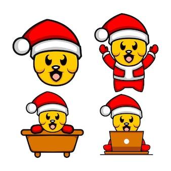 Nette hundeillustration, die weihnachtsmann-kostümvektor trägt