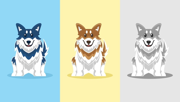 Nette husky-hundeikonen-karikatur-set-illustration