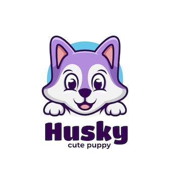 Nette husky welpen kawaii illustration kinder